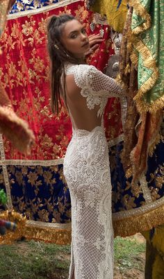 Long sleeve wedding dress fully embellishment sexy keyhole back sheath wedding gown #weddingdress #wedding
