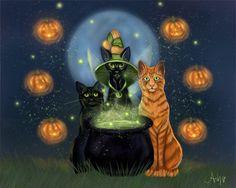 Ash Evans fantasy art Halloween fairy witch cat print. $15.00, via Etsy.