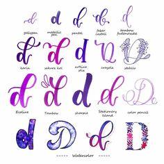 handlettering inspiration letter d variations - Handlettering - Alphabet - Typography Hand Lettering Tutorial, Hand Lettering Alphabet, Doodle Lettering, Creative Lettering, Lettering Styles, Alphabet Writing, Brush Lettering, Graffiti Alphabet, Font Styles