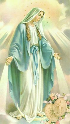 Our Lady of the Miraculous Medal ~ Virgen de la Medalla Milagrosa Catholic Prayers, Catholic Art, Catholic Saints, Religious Art, Religious Pictures, Jesus Pictures, Blessed Mother Mary, Blessed Virgin Mary, Immaculée Conception