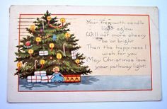 Vintage 1920's Christmas Postcard with Christmas Tree Postmarked 1923 Old Letter Correspondence Mixed Media Scrapbooking Supplies