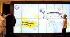 Un grand mur digital interactif dans le magasin Rag en Autriche