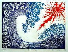 lino print surfer -
