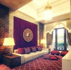 That purple wall with the medallion mirror. The post Luxury exotic living room. That purple wall with the medallion mirror…. appeared first on Migno Decor . Indian Living Rooms, My Living Room, Living Room Interior, Living Room Decor, Good Living Room Colors, Indian Bedroom, Living Area, Bedroom Colors, Room Decor Bedroom
