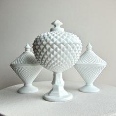 Pretty sawtooth milk glass compotes idea for centerpieces