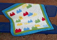 Lego-like Baby Quilt Quilting Projects, Sewing Projects, Lego Friends Birthday, I Fall To Pieces, Quilting Board, Quilt Tutorials, Sewing Tutorials, Book Quilt, Legos