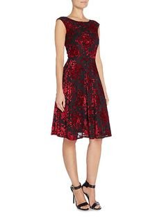 Floral Boat Neck Fit and Flare Dress