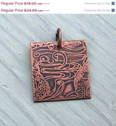 Handmade Copper Swirling Waters Solid Copper Etched Pendant Koi