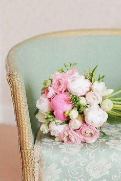 Peonies and roses - pink, white and green bouquet. Quite pretty