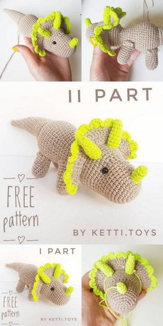 Amigurumi Triceratops Dinosaur free crochet pattern, This article is waiting for you. We always keep you up to date with amigurumi organic toy patterns. Crochet Dinosaur Patterns, Crochet Amigurumi Free Patterns, Crochet Dolls, Knitting Patterns, Free Crochet Pattern Animals, Knitting Ideas, Cute Crochet, Crochet Crafts, Easy Crochet