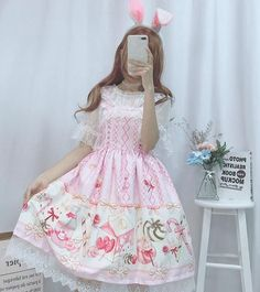 Chiffon printed sweet lolita dress with strawberry milk bunny themed print in two colors, organza overlay on the skirt and two different blouses designs to go along with the dress. Harajuku Fashion, Lolita Fashion, Fashion Outfits, Moda Lolita, Suspender Dress, Cute Japanese, Sweet Dress, Chiffon Shirt, Lolita Dress