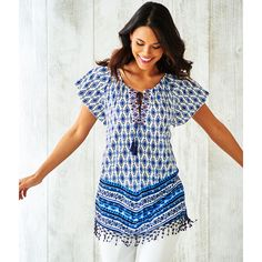 Absolutely Famous Fringed Hem Medallion Top
