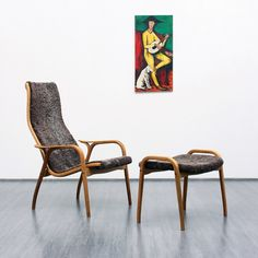 Swedese Lamino Chair with ottoman, oak base with lambskin cover, designed by Yngve Ekström
