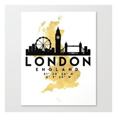 LONDON ENGLAND SILHOUETTE SKYLINE MAP ART Canvas Print (160 BAM) ❤ liked on Polyvore featuring home, home decor, wall art, skyline wall art, map home decor, london skyline wall art, map wall art and cityscape wall art