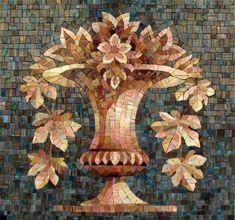 Мозаичное панно Ваза с листьями