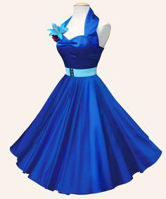 Vivien of Holloway - 1950s Halterneck Satin Dress - Royal