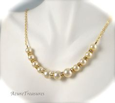 Gold Pearl Bridal Necklace with Rhinestones Gold by AzureTreasures, $50.00