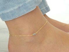 Aquamarine anklet, March Birthstone, Genuine Aqua Gold fill anklet, Aquamarine jewelry Dainty Rose gold anklet