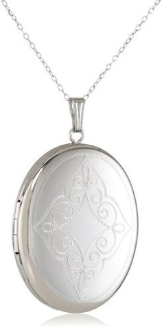 Momento Lockets Sterling Silver Oval Shaped Locket with Swirls Necklace