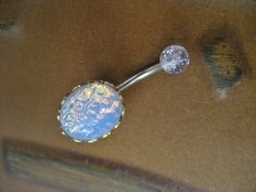 White Opal Belly Button Jewelry Stud Ring- Navel Piercing Bar Barbell $20