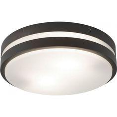 3792-2GY Outdoor 2 Light Round Dark Grey Opal White Diffuser Flush