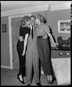 John Wayne with Lucille Ball and Vivian Vance on the set of I Love Lucy, 1955