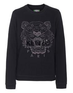 KENZO Tiger Roaring Silver Black; Bawełniana bluza z wyszywanym nadrukiem