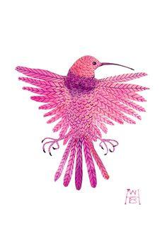 purple throat hummingbird miniature bird art original gouache painting.  via Etsy.