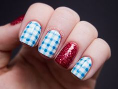 "I need to grow my nails so I can do this.my Oz obsession on nails!""The Wizard of Oz"" Dorothy-inspired DIY nail art Nail Art Blog, Nail Art Diy, Diy Nails, Love Nails, How To Do Nails, Pretty Nails, Style Nails, Uñas Jamberry, Chalkboard Nails"