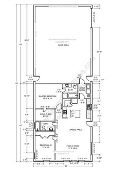 2 bedroom 2 bath barndominium floor plan for 30 foot wide building with a 30 x