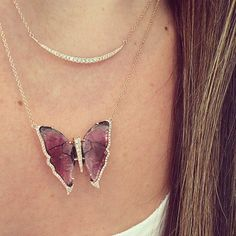 EF Collection mini diamond crescent layered with one of a kind tourmaline diamond butterfly necklace. Baby Jewelry, Jewelry For Her, Gems Jewelry, Stone Jewelry, Jewelry Box, Jewelery, Jewelry Accessories, Jewelry Design, Butterfly Jewelry