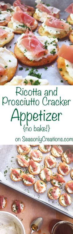 Ricotta and Prosciutto Cracker Appetizer - Ricotta and Prosciutto Cracker Appetizer recipe, perfect for your next holiday party! This is a no-bake recipe that costs under $10 and takes less than 20 minutes to make. Wow holiday party goers with creamy ricotta, prosciutto and a light honey drizzle over every cracker. Click through for the full recipe!   SeasonlyCreations.com   @SeasonlyBlog