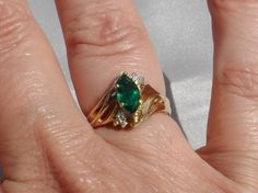 I just listed 10K Gold Lab Created Emerald and Diamond Ring, Size 7, Signed, Vintage 1990s, Marquis Cut Ring on The CraftStar @TheCraftStar #uniquegifts