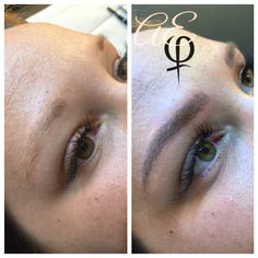 Before and After Microblading by Artist: Alana Everett   AURA, Midland Michigan   www.cosmetictattoostudio.com   Semi-Permanent Makeup for Eyebrows   FeatherTouch   Hairstroke Eyebrows   Brow Tattoo   Eyebrow Embroidery   Alopecia   Perfect Brows