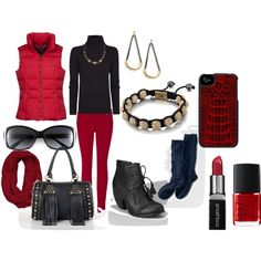 """Red and Black All Over"" by martha-hill-carter on Polyvore"
