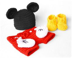 Mickey Mouse Newborn Photography Prop Set  Short  #crochet #pattern
