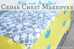 LOVE it! #DIY Cedar Chest Makeover at u-createcrafts.com using @HGTV HOME #fabric! @U Create