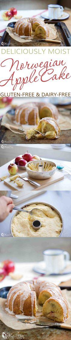 Moist and delicious gluten-free dairy-free Scandinavian apple cake recipe to celebrate autumn