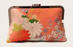 Coral Pink Floral Silk Clutch Purse  Pink by SimplySilkScarves