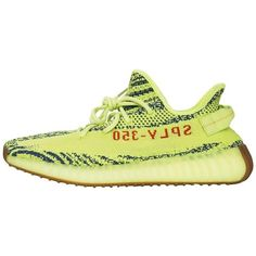 Preowned Adidas X Kanye West Yeezy Boost 350 V2 Semi Frozen Yellow 2.0... ($900) ❤ liked on Polyvore featuring shoes, yellow, small heel shoes, lacy shoes, lace shoes, pre owned shoes and tie shoes