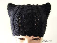 Knit cat hat, black cat hat, women's knitted hat, adult cat ear hat, knit wool beanie, teens animal hat, hat with small horns, winter wool hat, handmade. This wool cat ear hat is a warm and cute accessory for You! This hand knit hat looks like kitty ears when worn (or hat with small horns :-) Made of 75 % wool and 25% polyamide yarn. Size: one size fits most (good stretch). Color - black. I recommend hand washing and laying flat to dry. Hand knitted with love in a smoke-free, pet-free home.