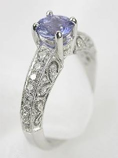 Pierced and Engraved Engagement Ring