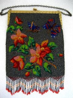 Antique beaded purse butterflies and flowers 1900