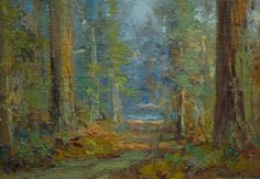 Charles Henry Harmon and Forest Path, Oil Painting