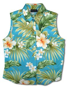 56fa916d979cf Sleeveless Tank Blouse Aloha Flower Hibiscus Cotton Fabric Collar Tank Top  Blouse Curved Hemline Colors  Blue