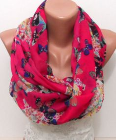 Hot pink soft light weight scarf Butterfly print by elegancescarf