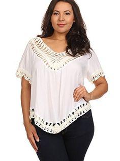 2140df1f2aa C.O.C. Plus Women s Crochet Boho Blouse (Ivory) Big And Beautiful