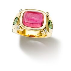 Cassandra Goad: Botanical 18ct yellow gold ring set with a cushion cabochon cut vivid pink tourmaline and pear shaped tsavorite green garnets and diamonds.