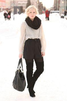 Winter shorts, knee high boots.