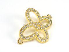 butterfly rhinestone bead link, metal bead 33x33mm, butterfly link, white rhinestone yellow gold alloy, sparkle butterfly link bead--6pcs